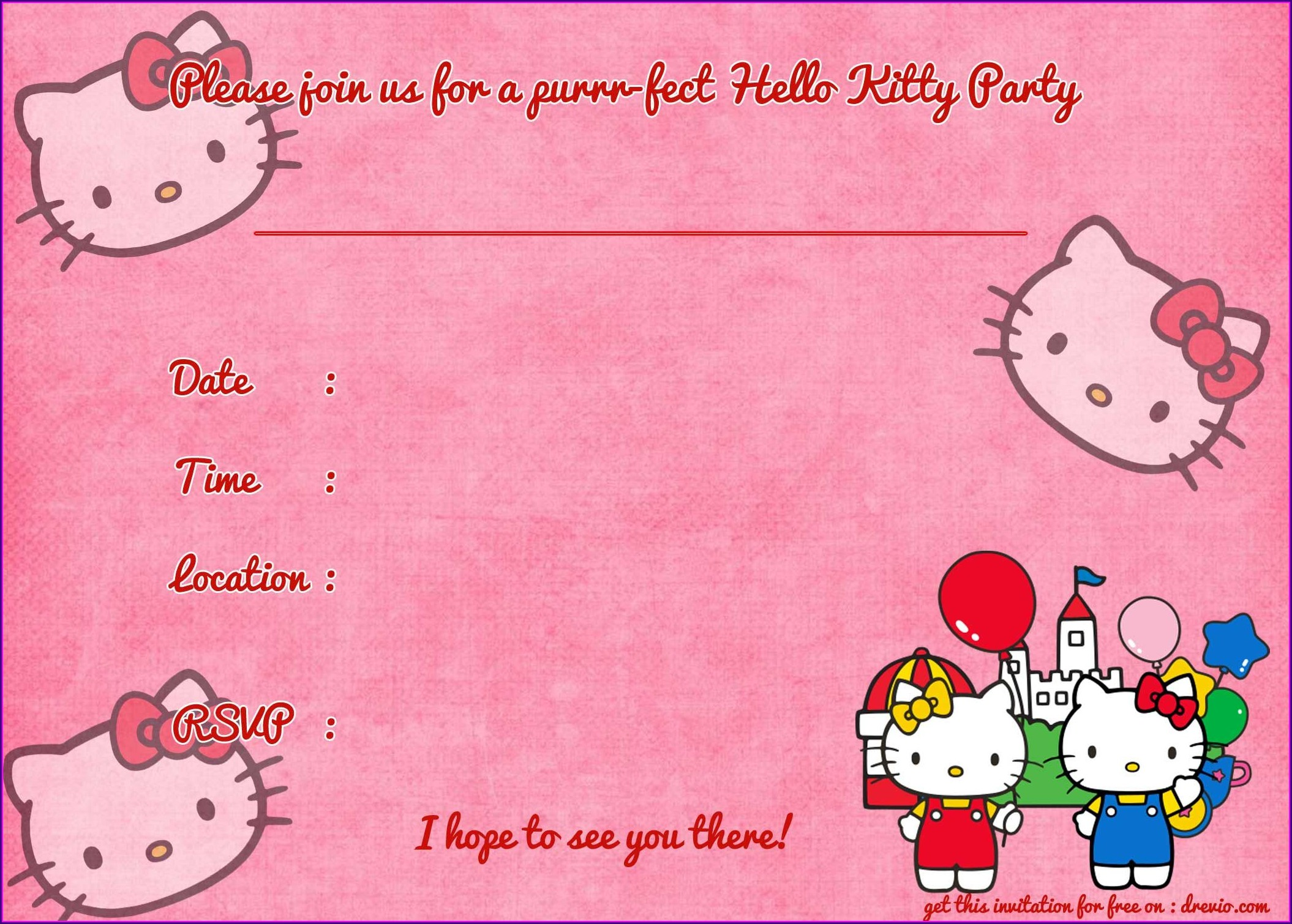 Christening Layout Hello Kitty Invitation Template Blank