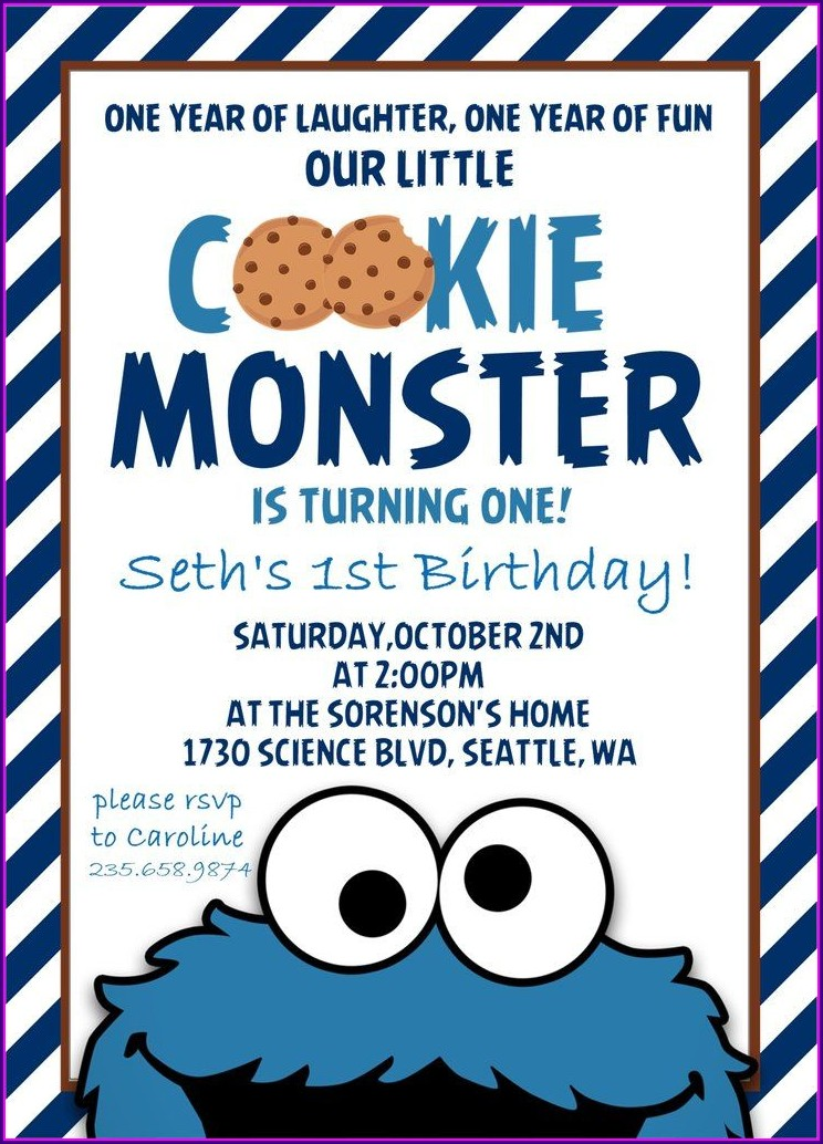 Cookie Monster 1st Birthday Invitations