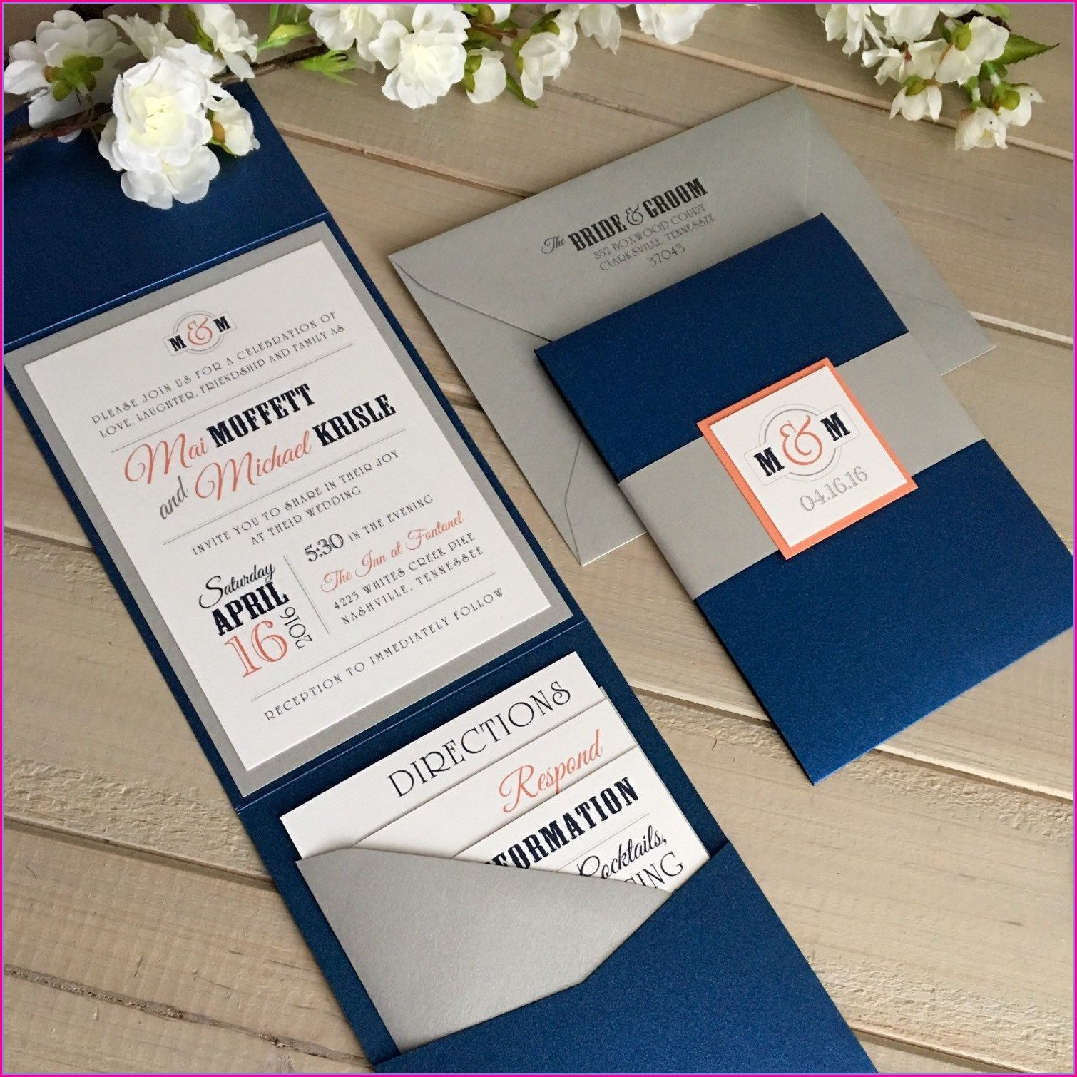 Coral And Navy Wedding Invitations