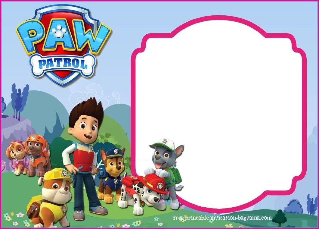 Customizable Downloadable Paw Patrol Invitation Template