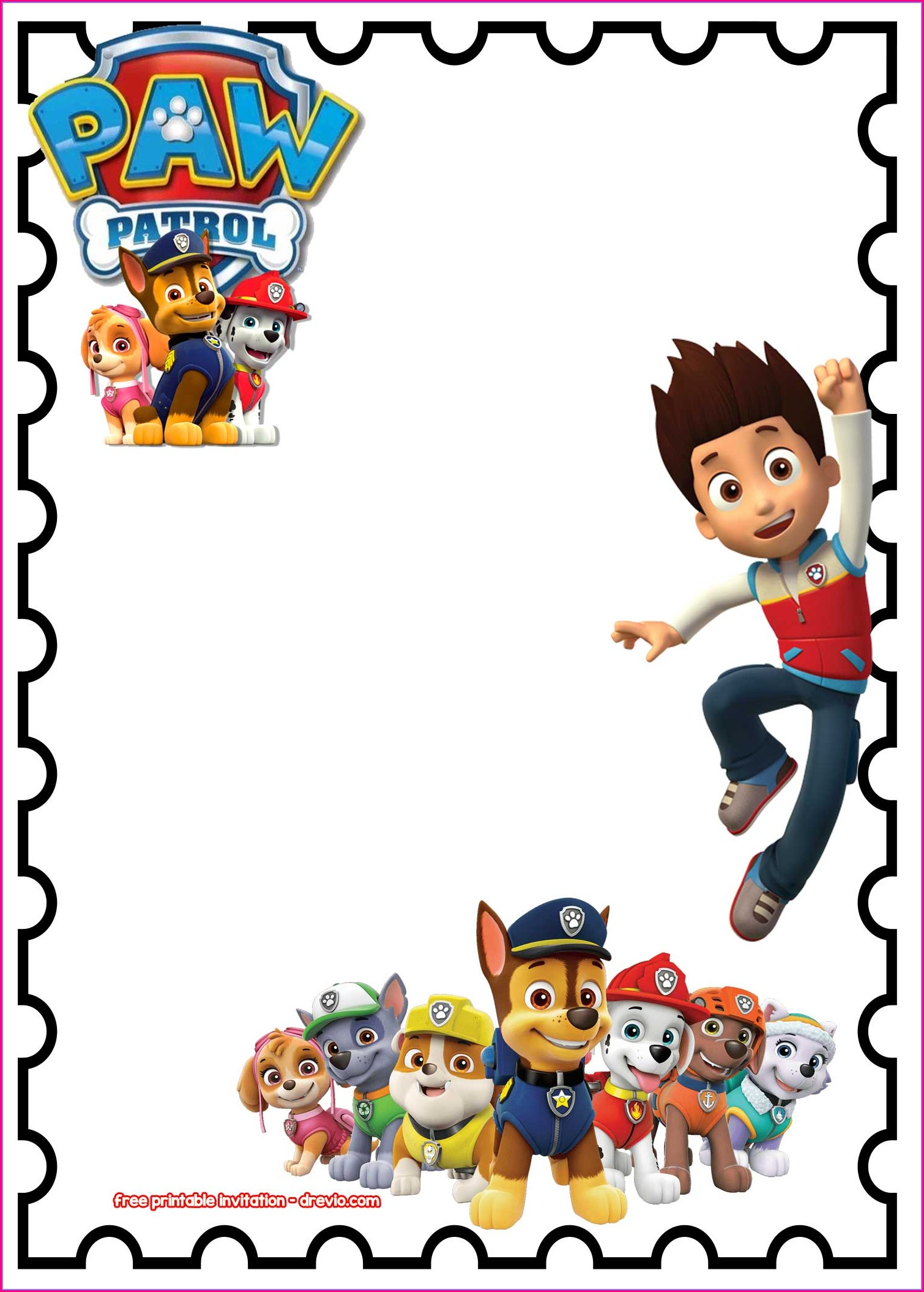 Customizable Editable Paw Patrol Invitation Template