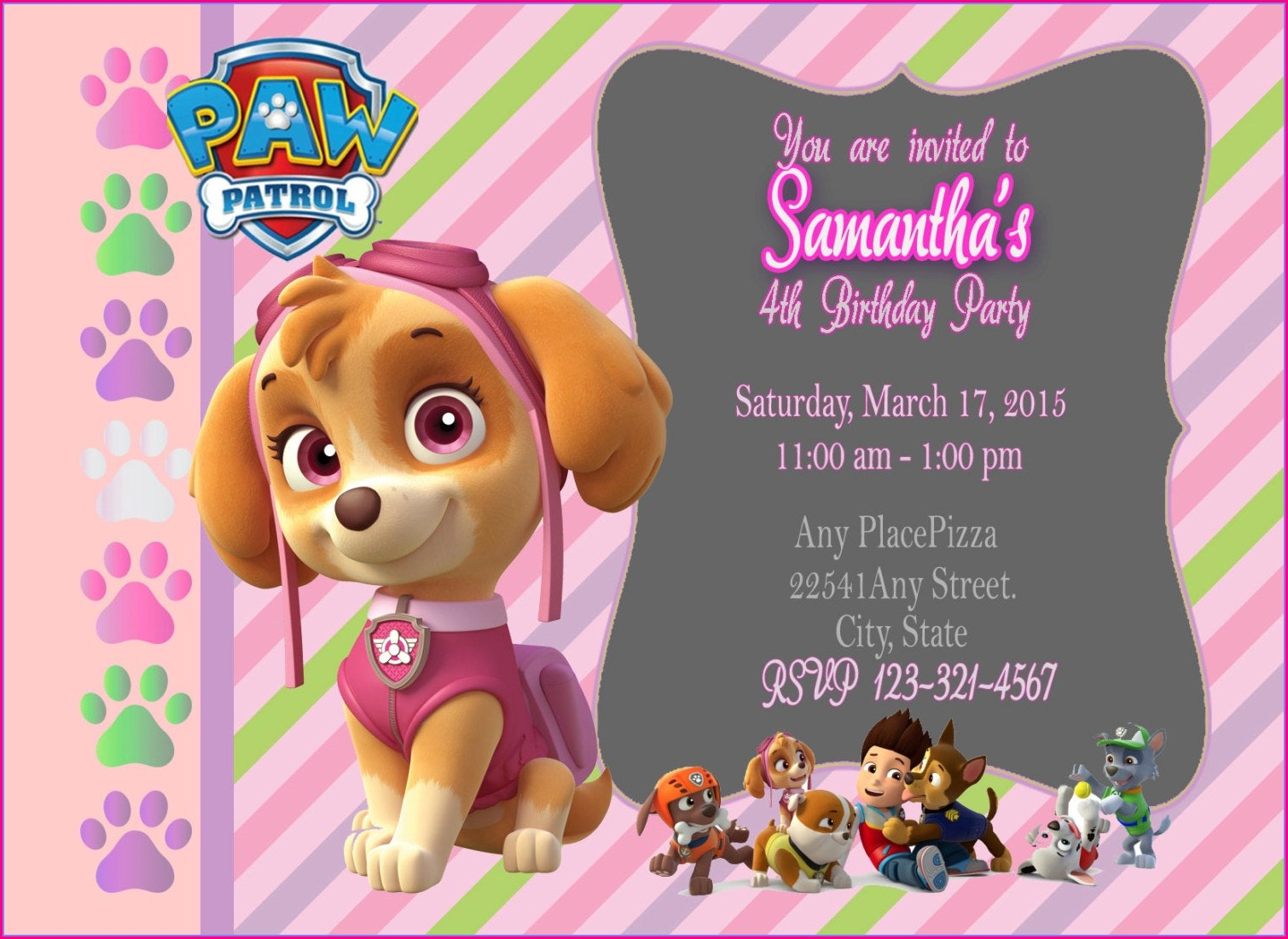 Customizable Skye Paw Patrol Invitation Template Free