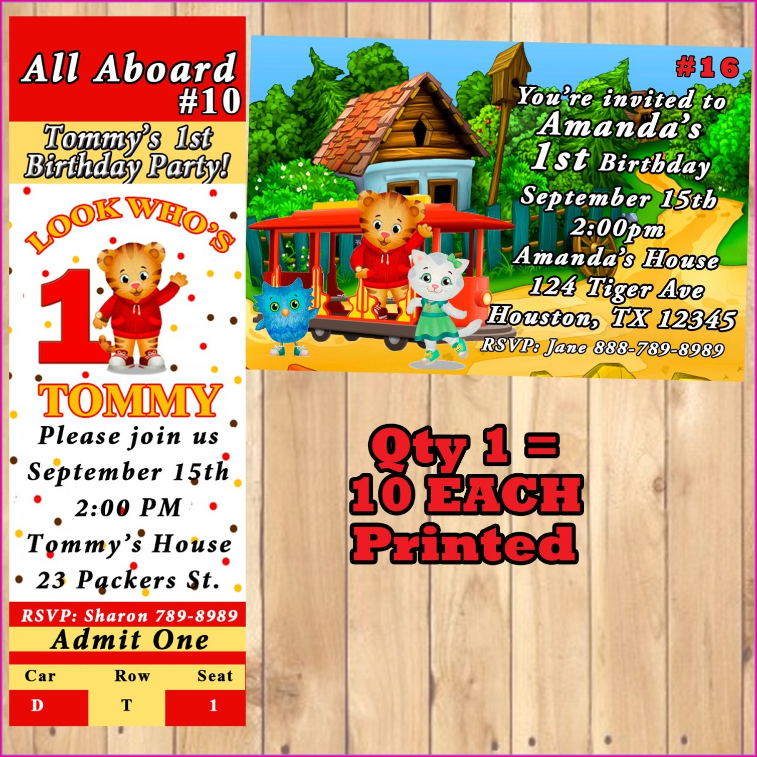 Daniel Tiger Birthday Invitations Personalized