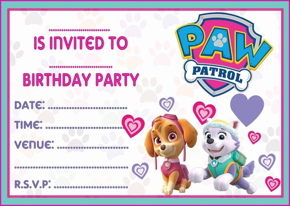 Downloadable Skye Paw Patrol Invitation Template Free
