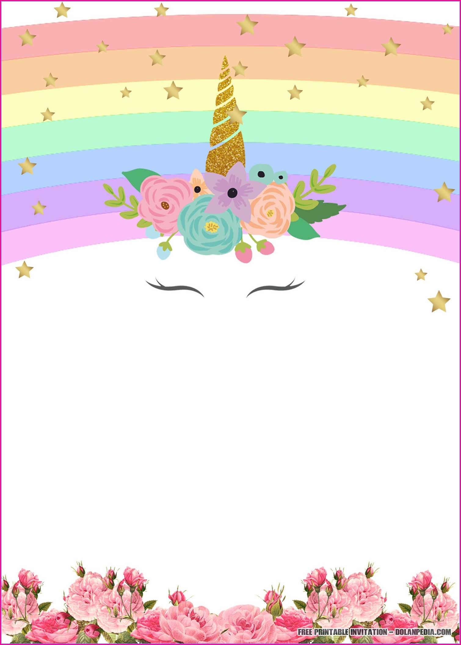 Editable Birthday Downloadable Free Unicorn Invitation Template