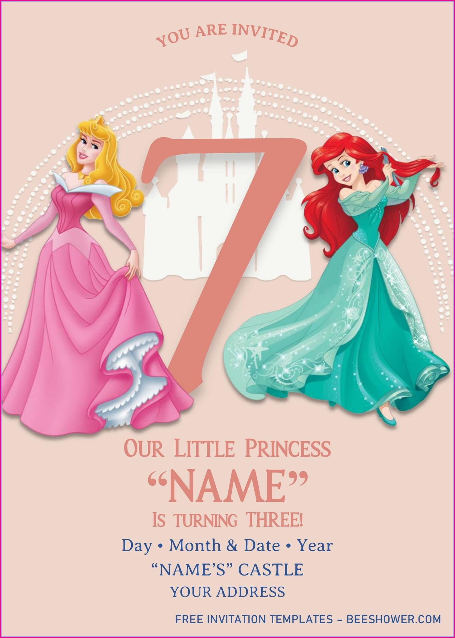 Editable Disney Princess Birthday Invitations