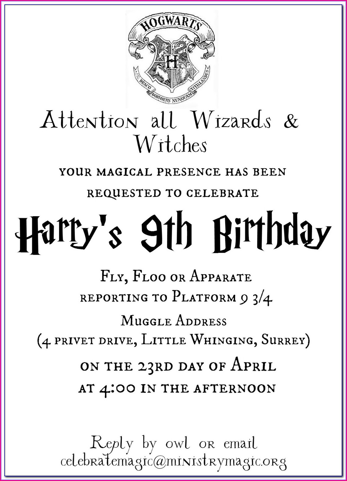 Editable Harry Potter Invitation Template