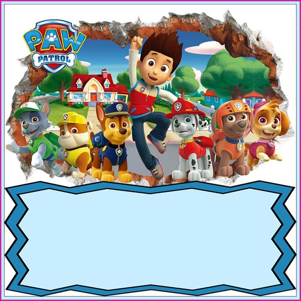 Editable Paw Patrol Invitation Template Blank
