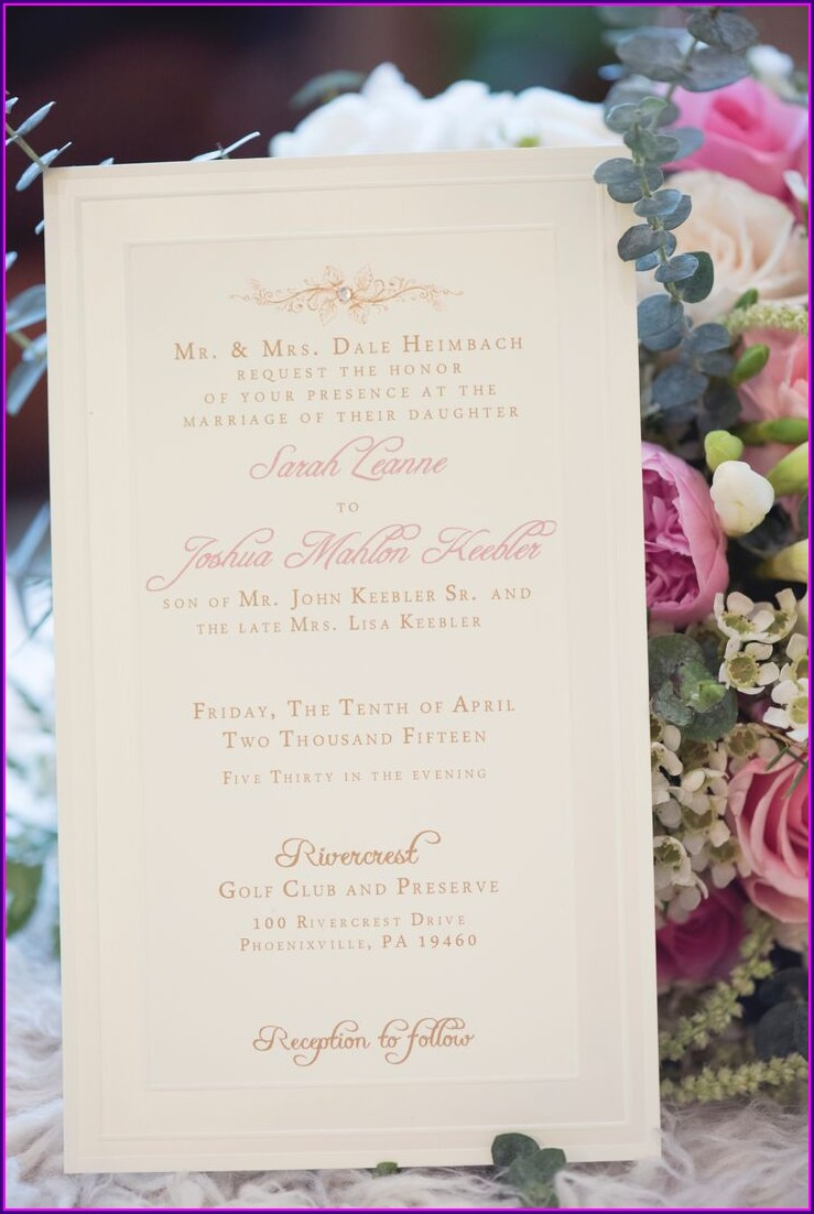 Elegant Pink And Gold Wedding Invitations