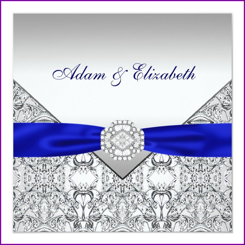 Elegant Royal Blue And Silver Wedding Invitations