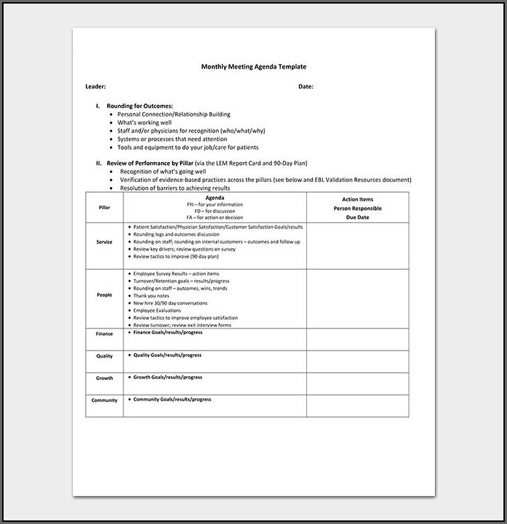 Excel Sales Meeting Agenda Template