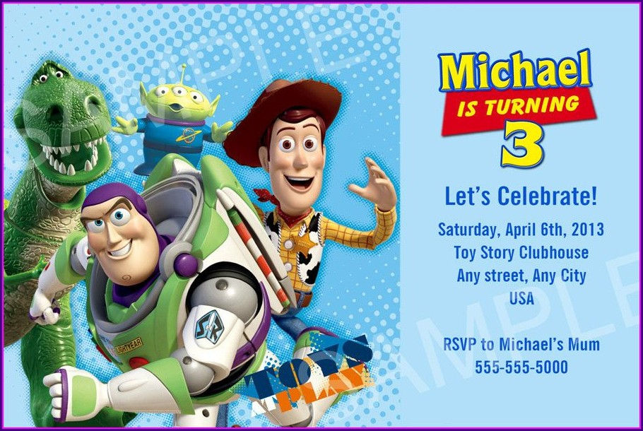 Free Personalized Toy Story Birthday Invitations