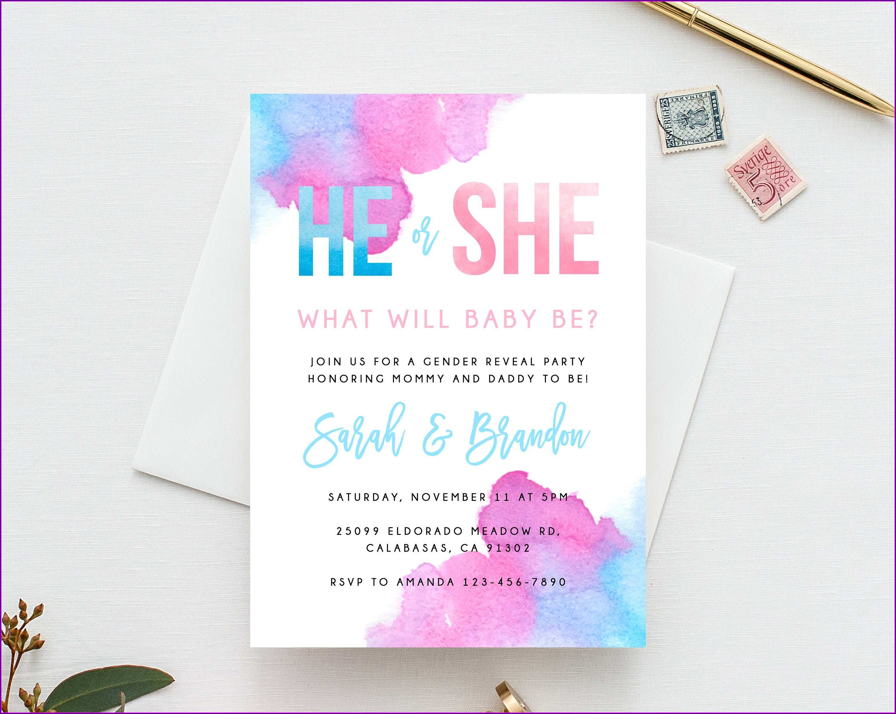 Gender Reveal Invitation Template Free