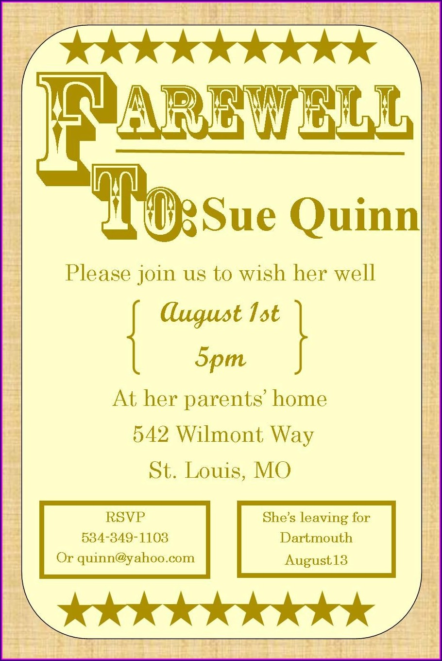 Going Away Potluck Invitation Wording