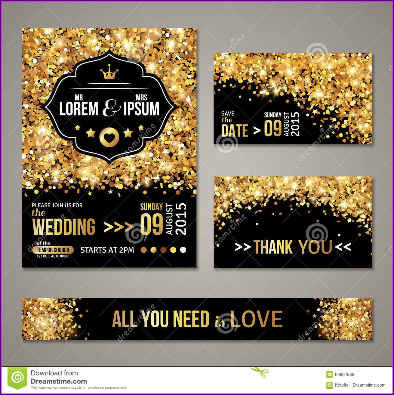 Gold Vector Wedding Invitation Background
