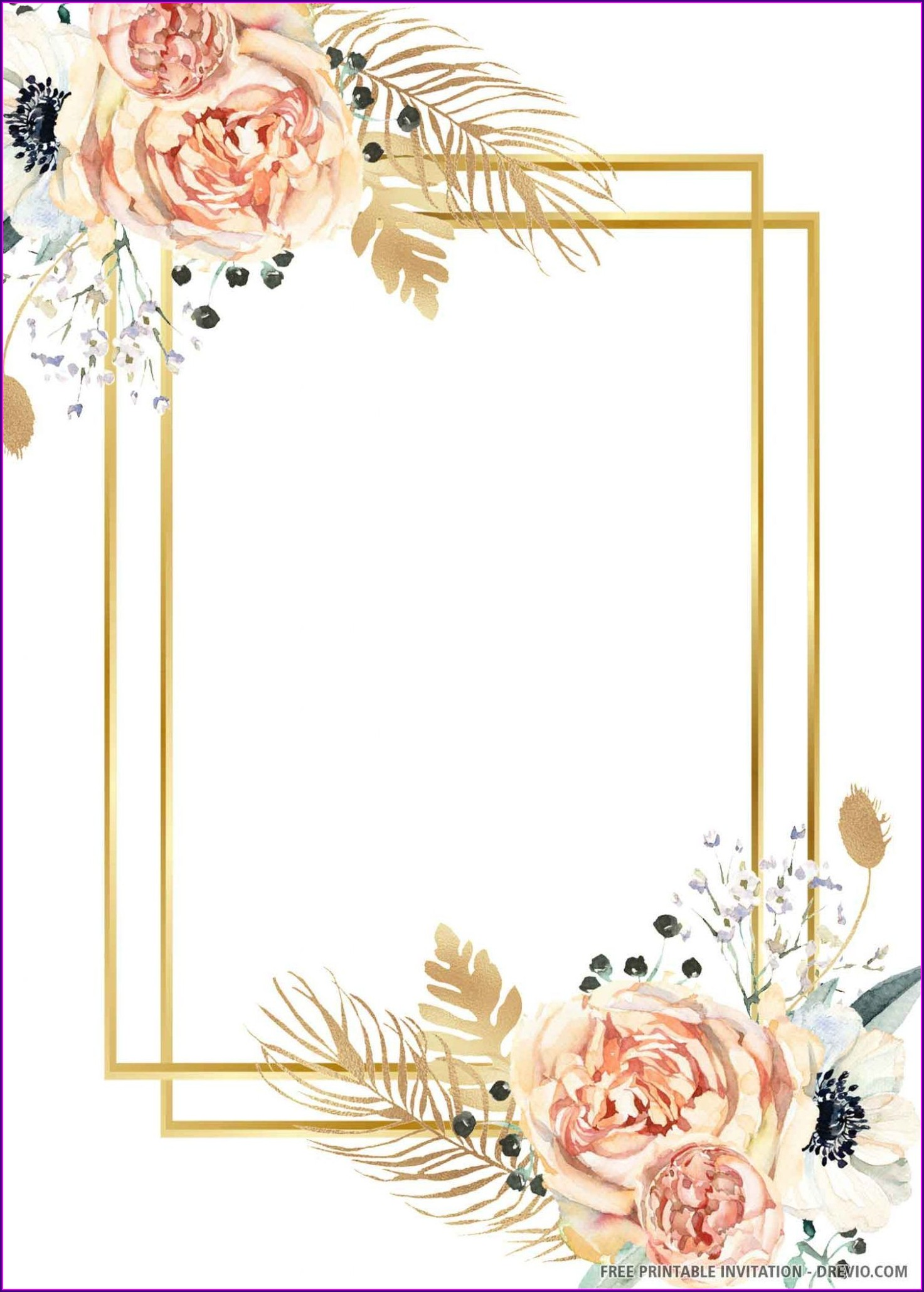 Gold Wedding Invitation Background Template
