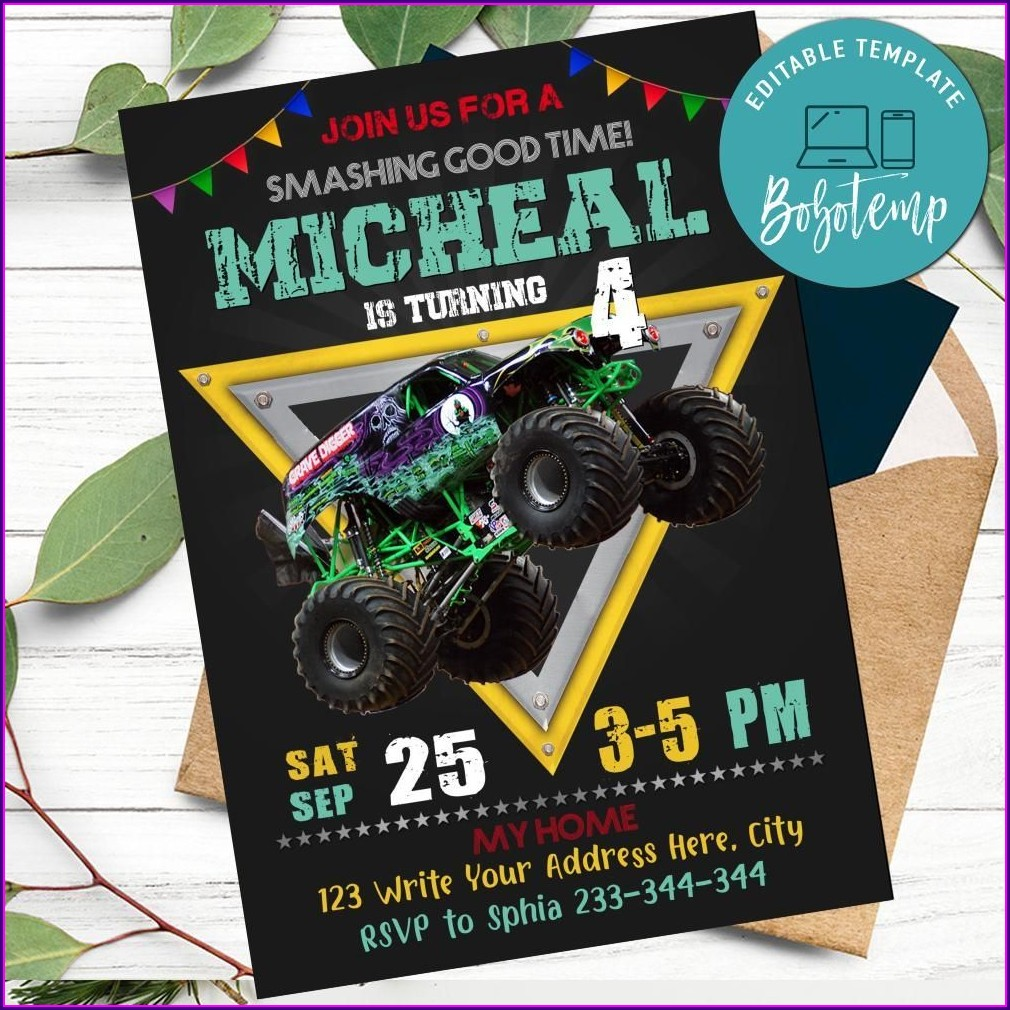 Grave Digger Monster Truck Birthday Invitations