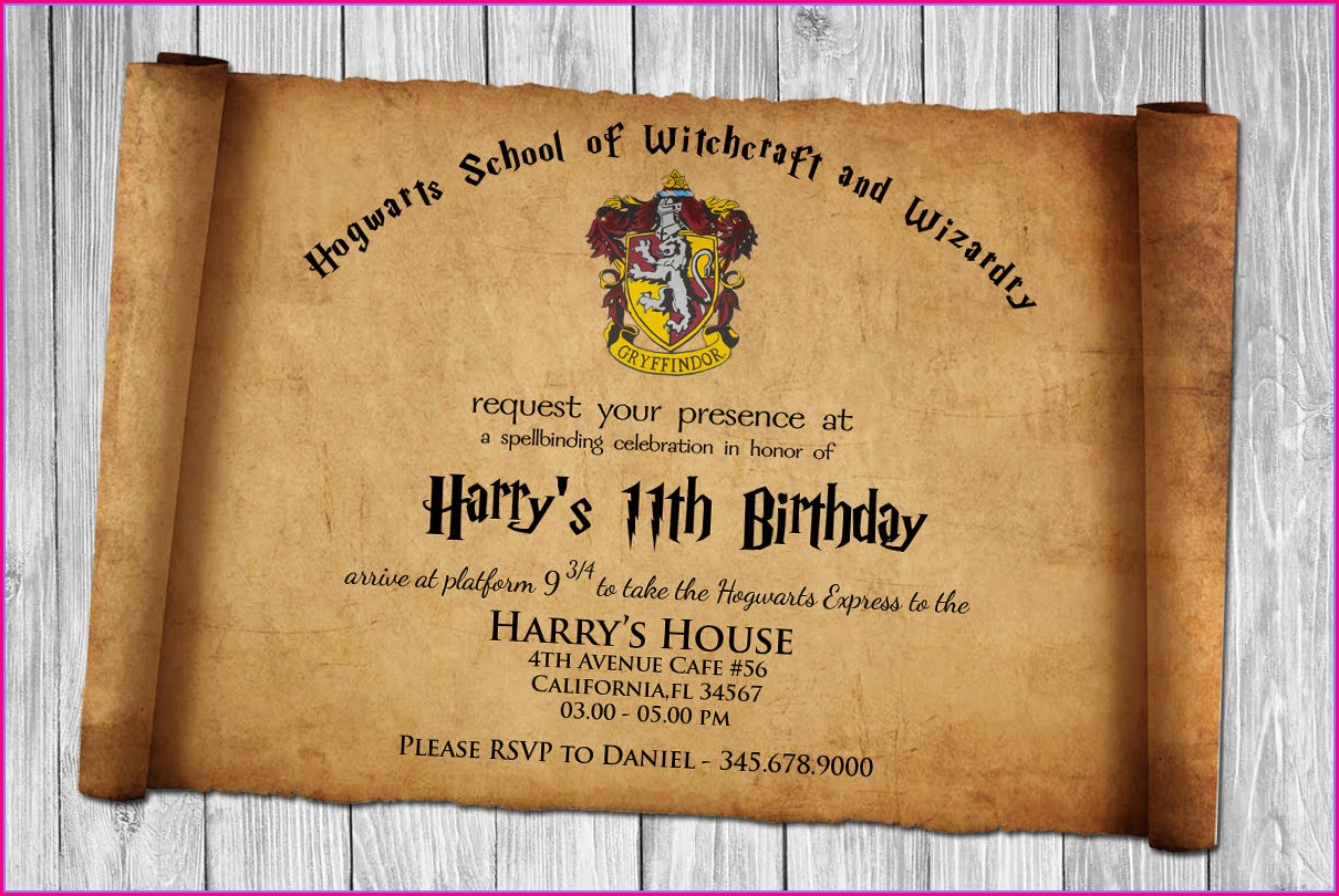 Harry Potter Birthday Invitation Template Free Download