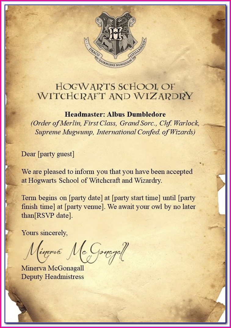 Harry Potter Birthday Invitation Template