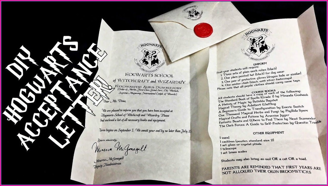 Harry Potter Invitation Letter To Hogwarts Template