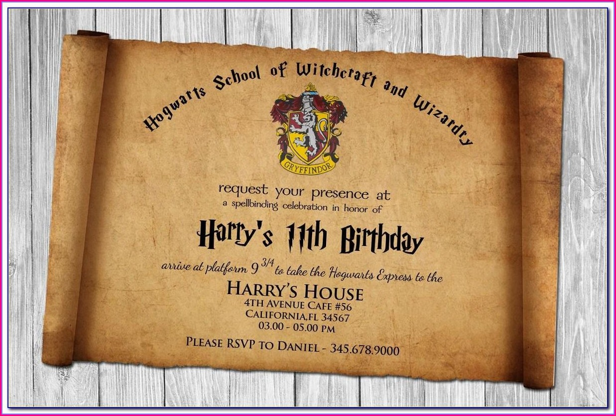 Harry Potter Party Invitation Template Free