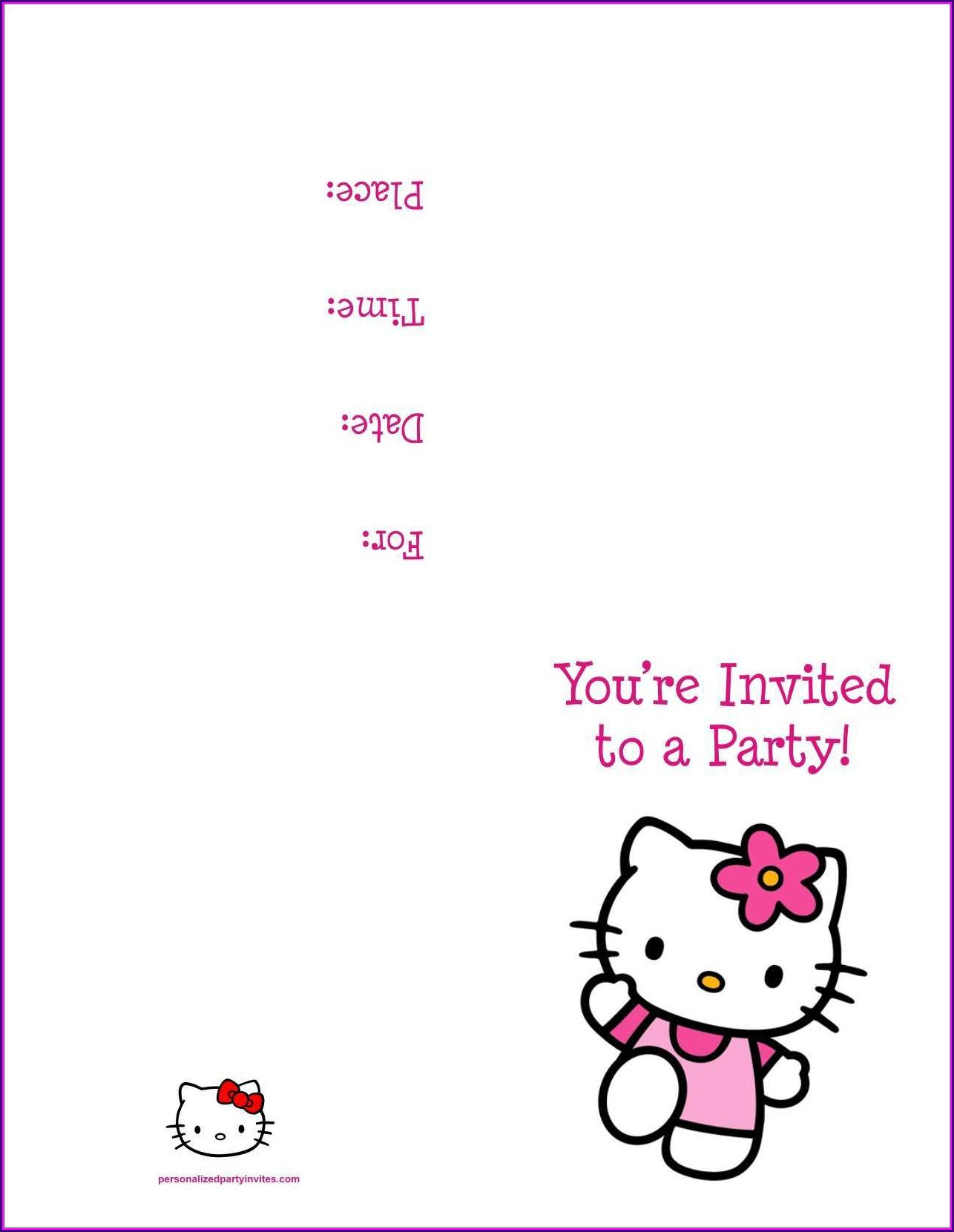 Hello Kitty Birthday Invitation Card Template Free