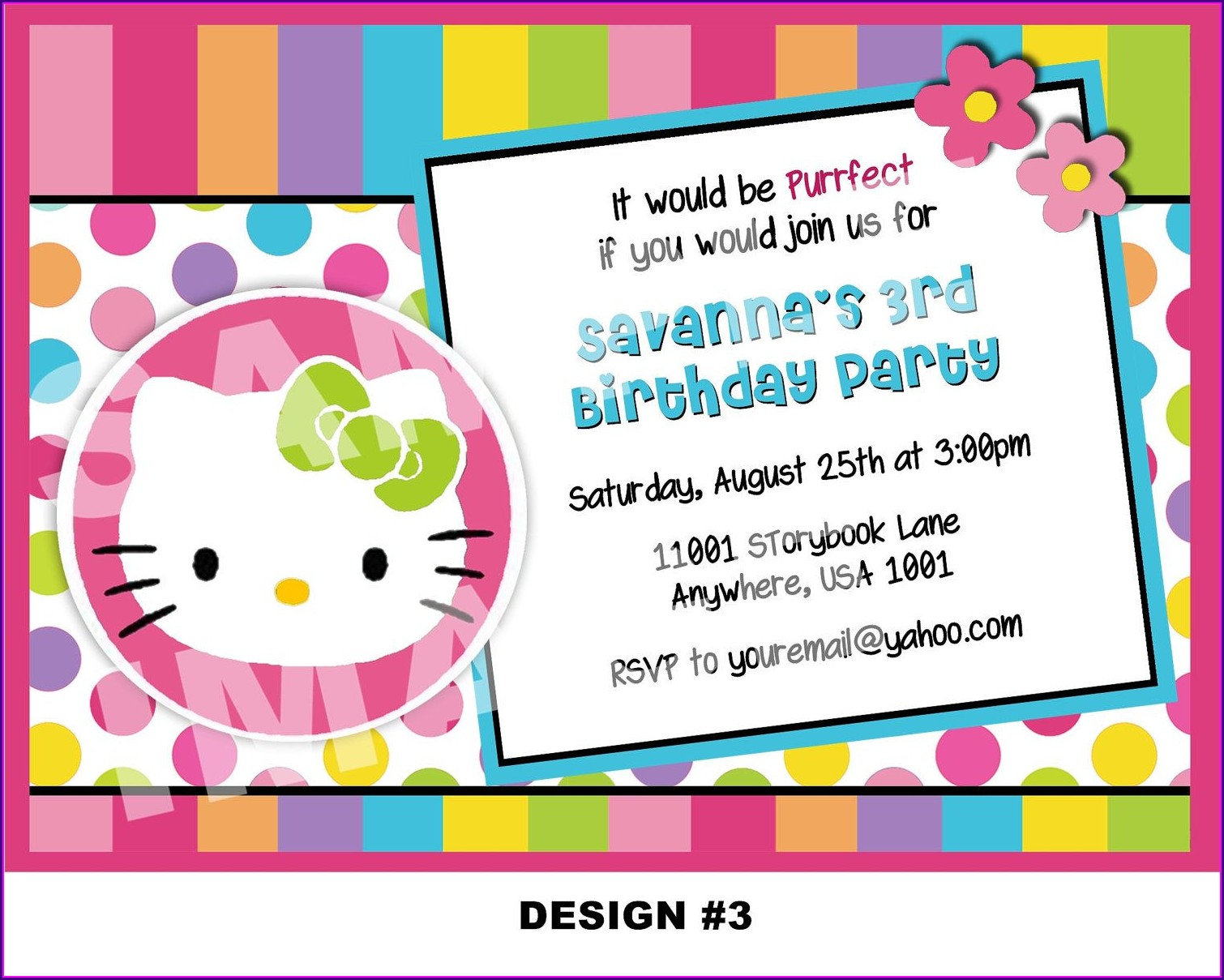 Hello Kitty Design For Birthday Invitation