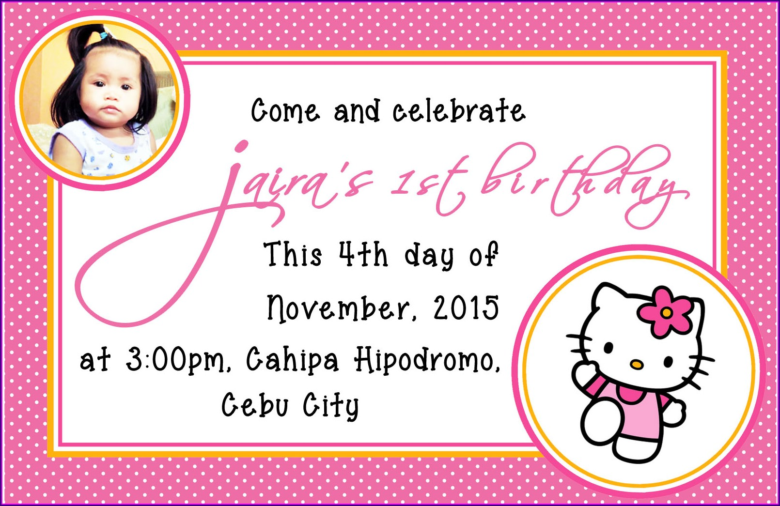 Hello Kitty Invitation Card 1st Birthday