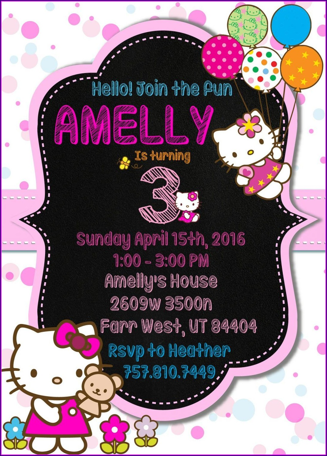 Hello Kitty Invitation Card 7th Birthday