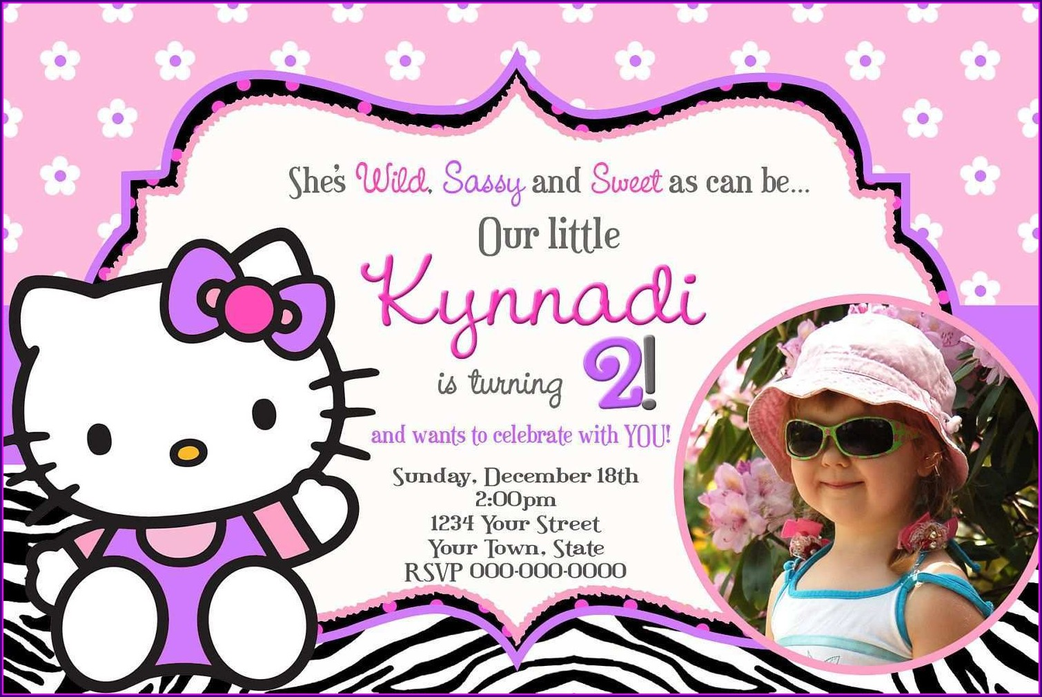 Hello Kitty Invitation Card Editable