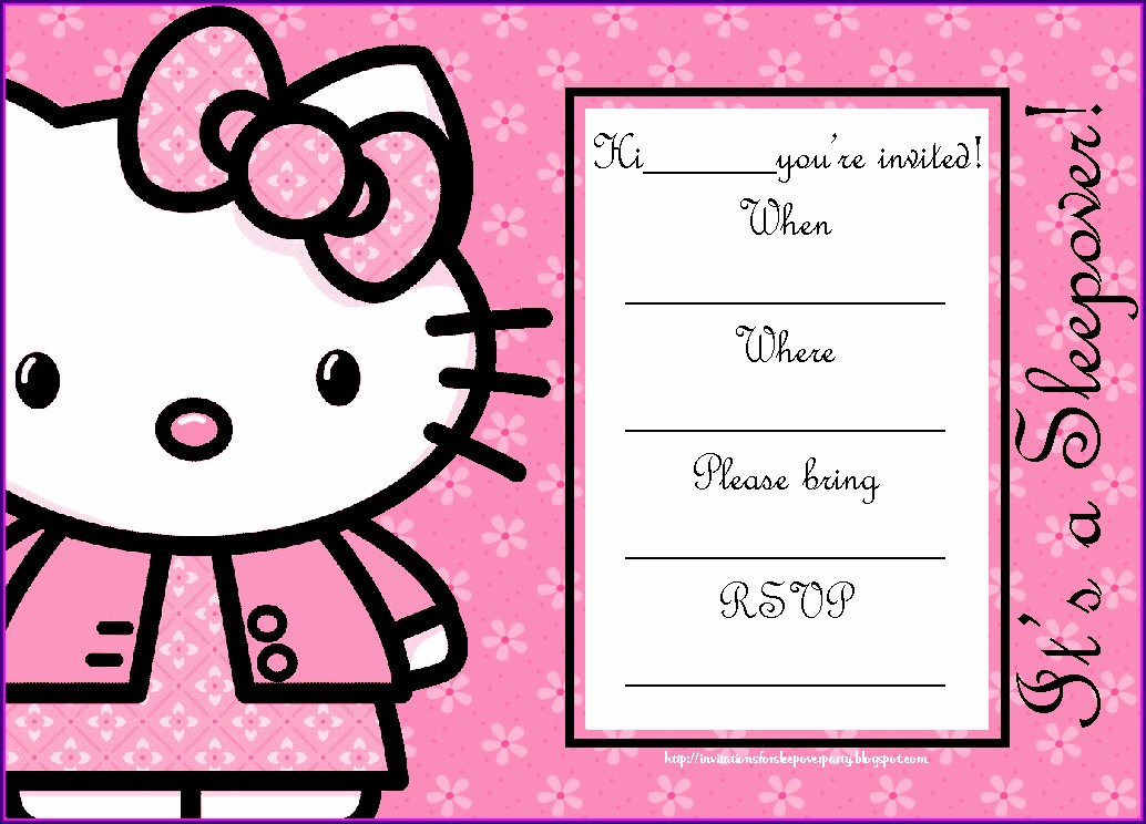 Hello Kitty Invitation Card For 18th Birthday