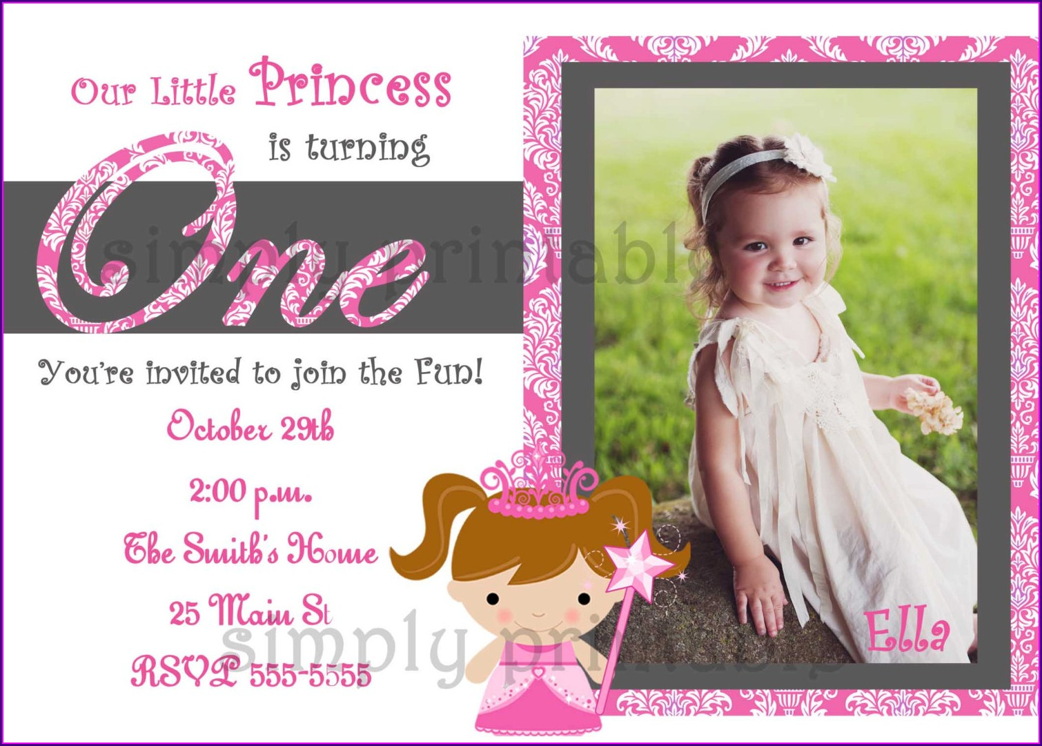Hello Kitty Invitation Card For 1st Birthday Girl
