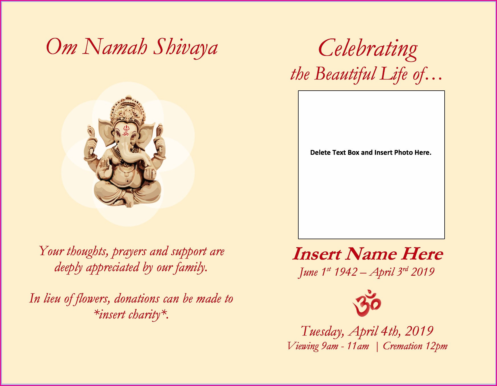 Hindu Funeral Invitation Template Word