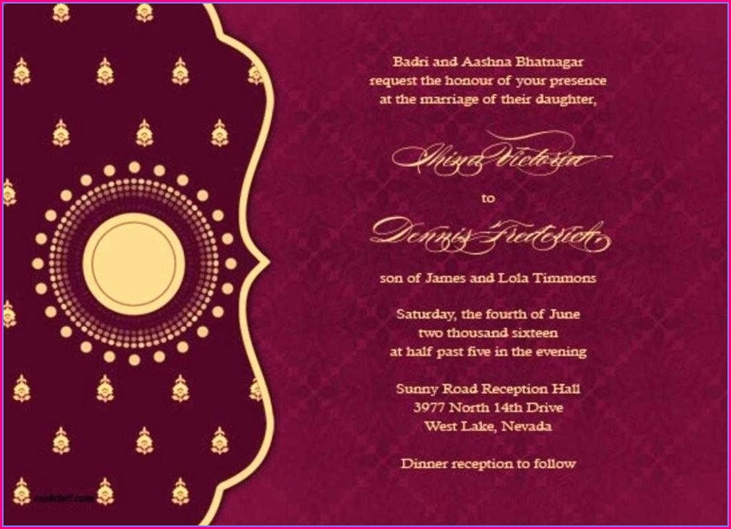 Hindu Template Wedding Invitation Card Design