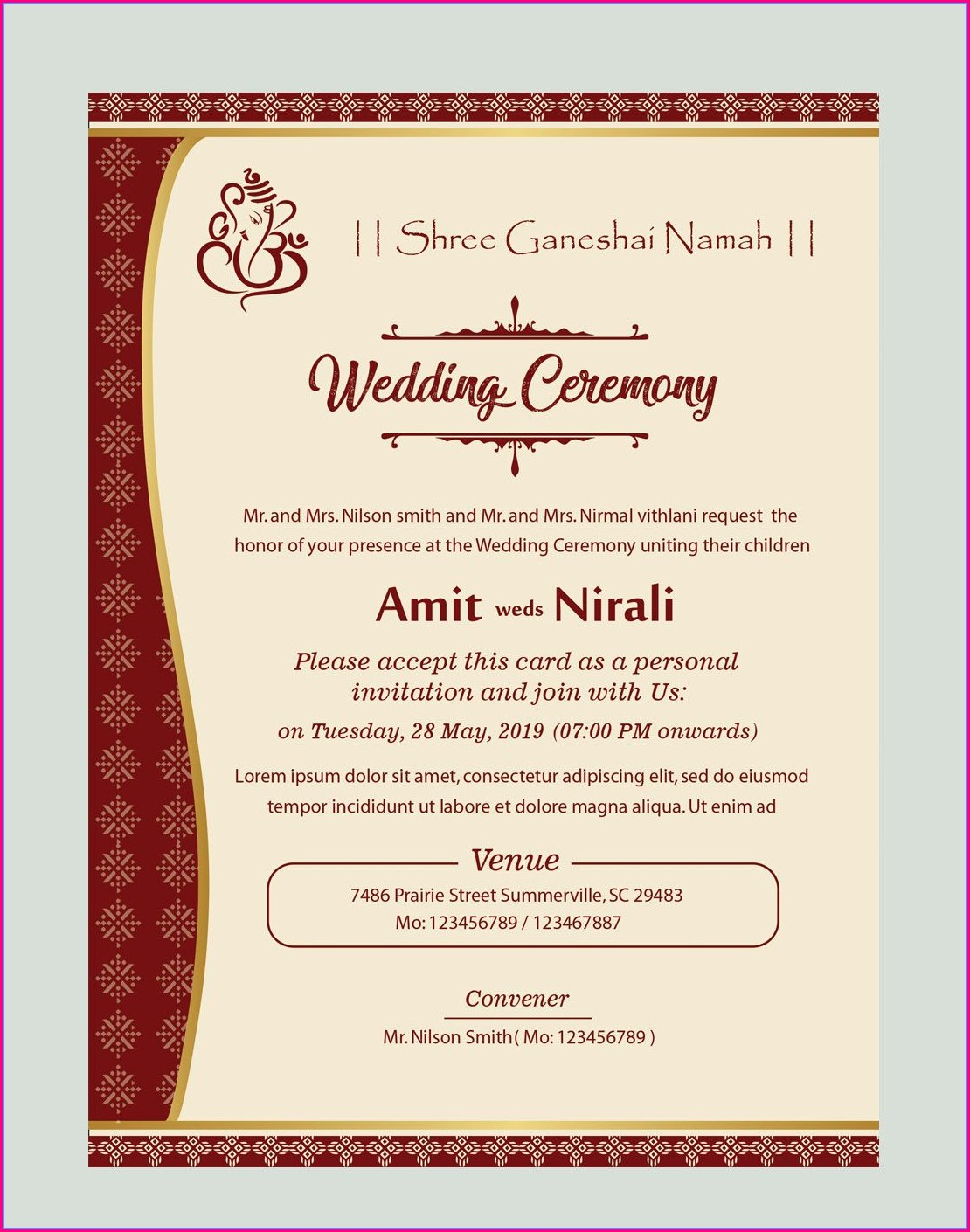 Hindu Wedding Invitation Card Format In English Editable