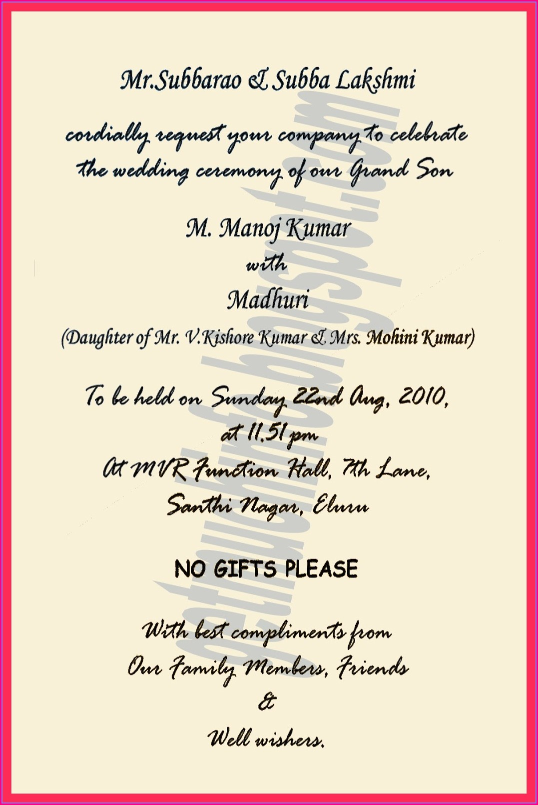 Hindu Wedding Invitation Card Format In English