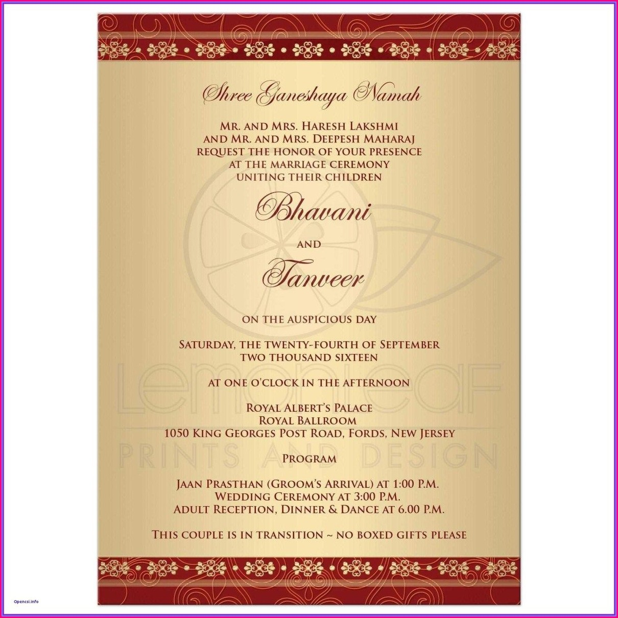 Hindu Wedding Invitation Card Indian