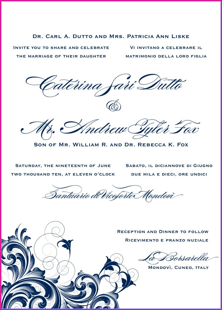 Hindu Wedding Invitation Sample In English