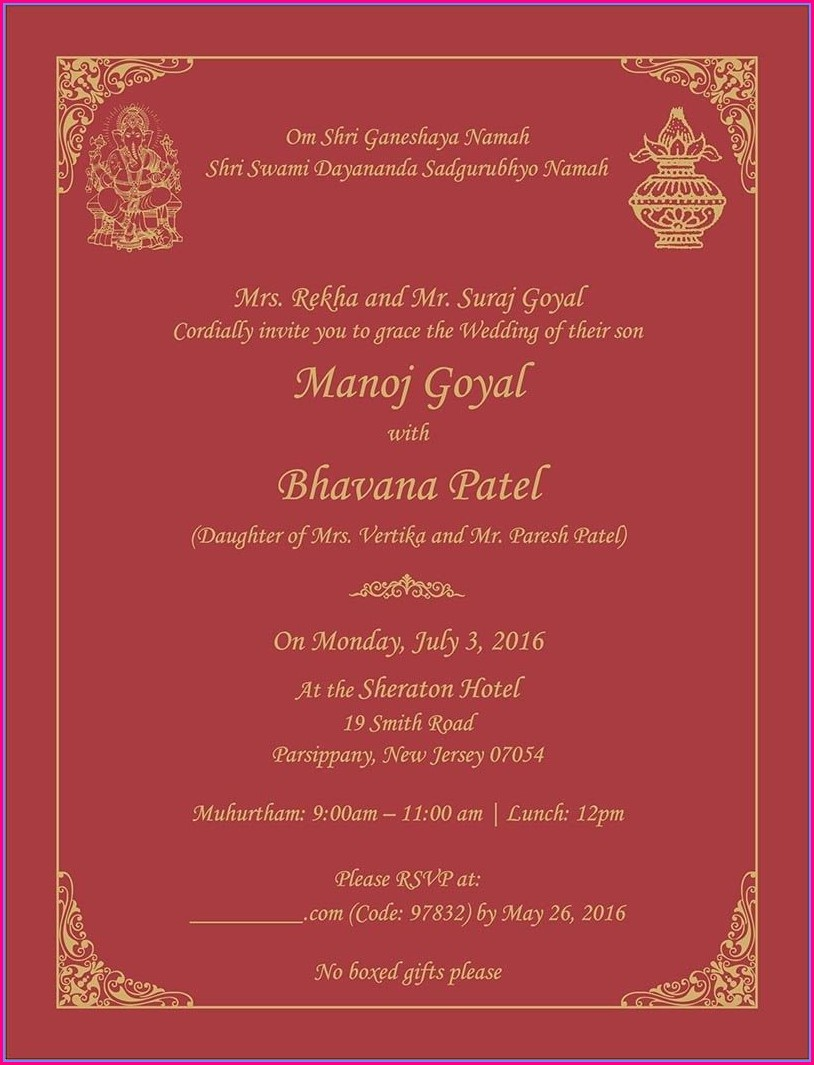 Hindu Wedding Invitations Wording