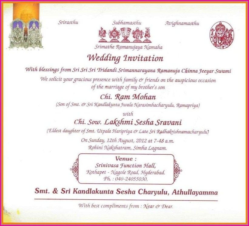 Hindu Wedding Marriage Invitation Card Format In English Pdf Free Download