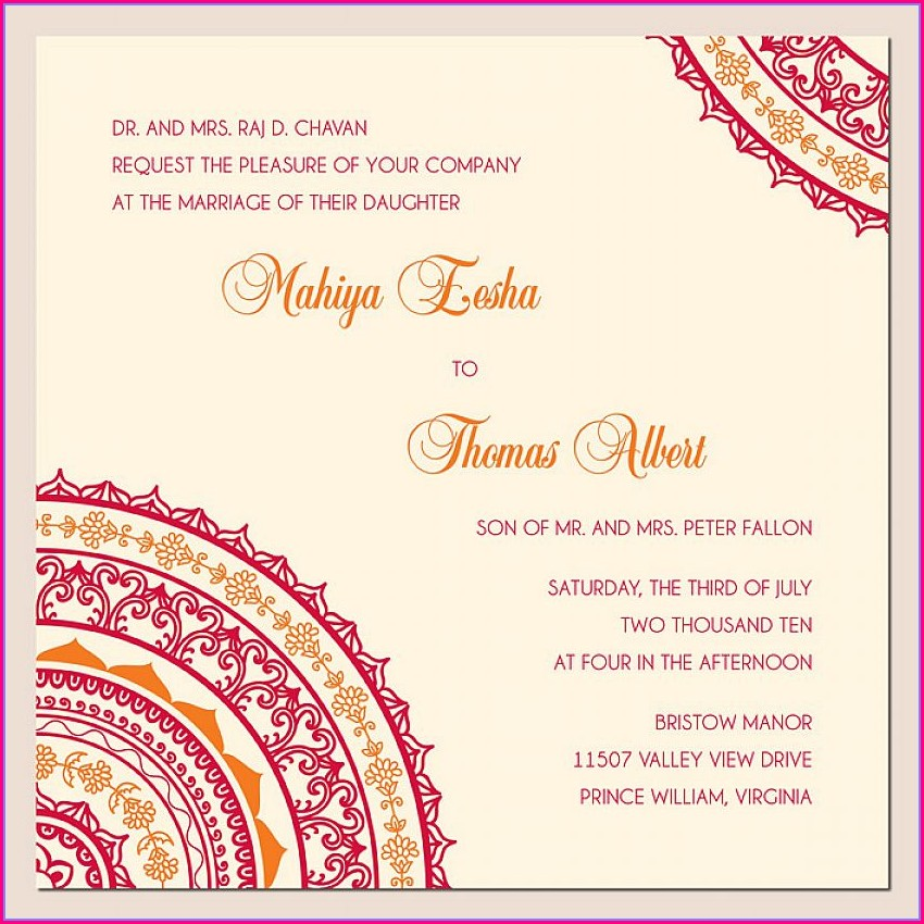 Invitation Templates Hindu Traditional Wedding Card Design
