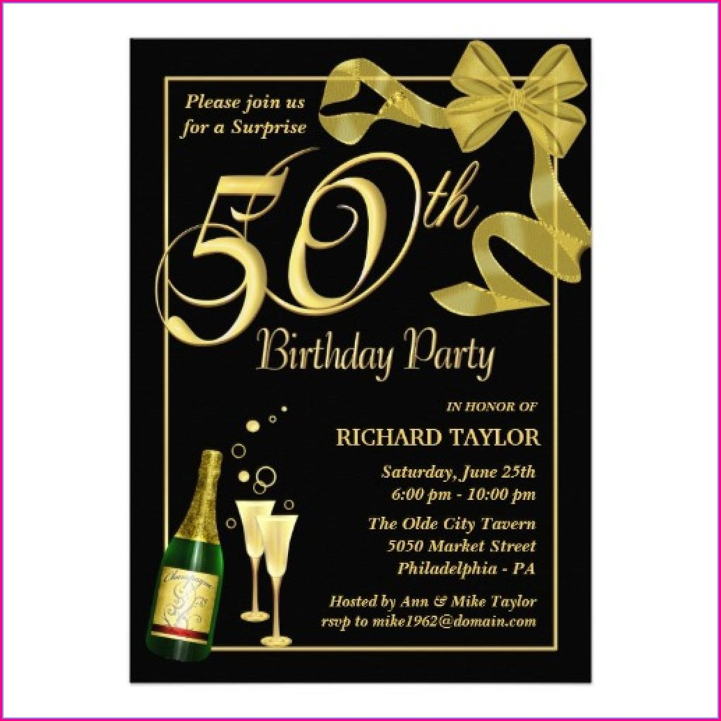 Male Surprise 50th Birthday Invitations