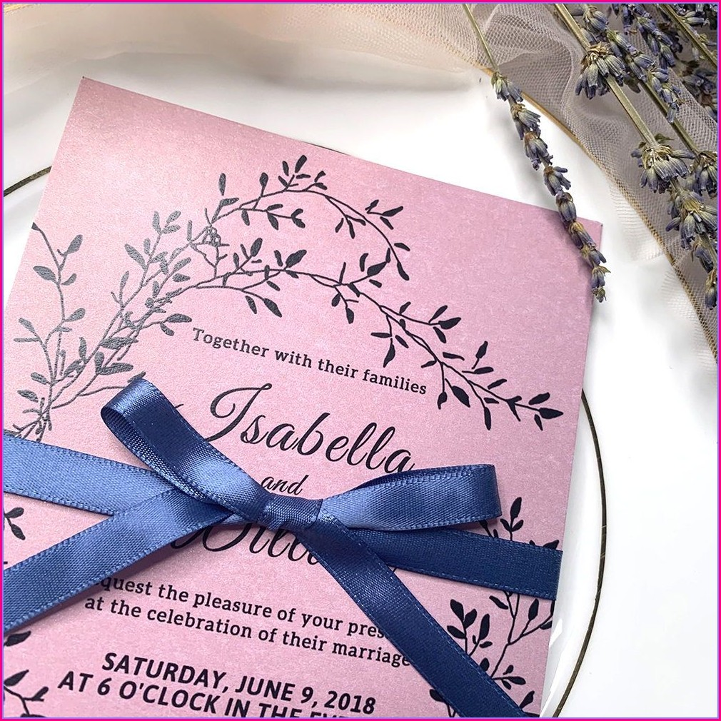Mauve And Navy Wedding Invitations