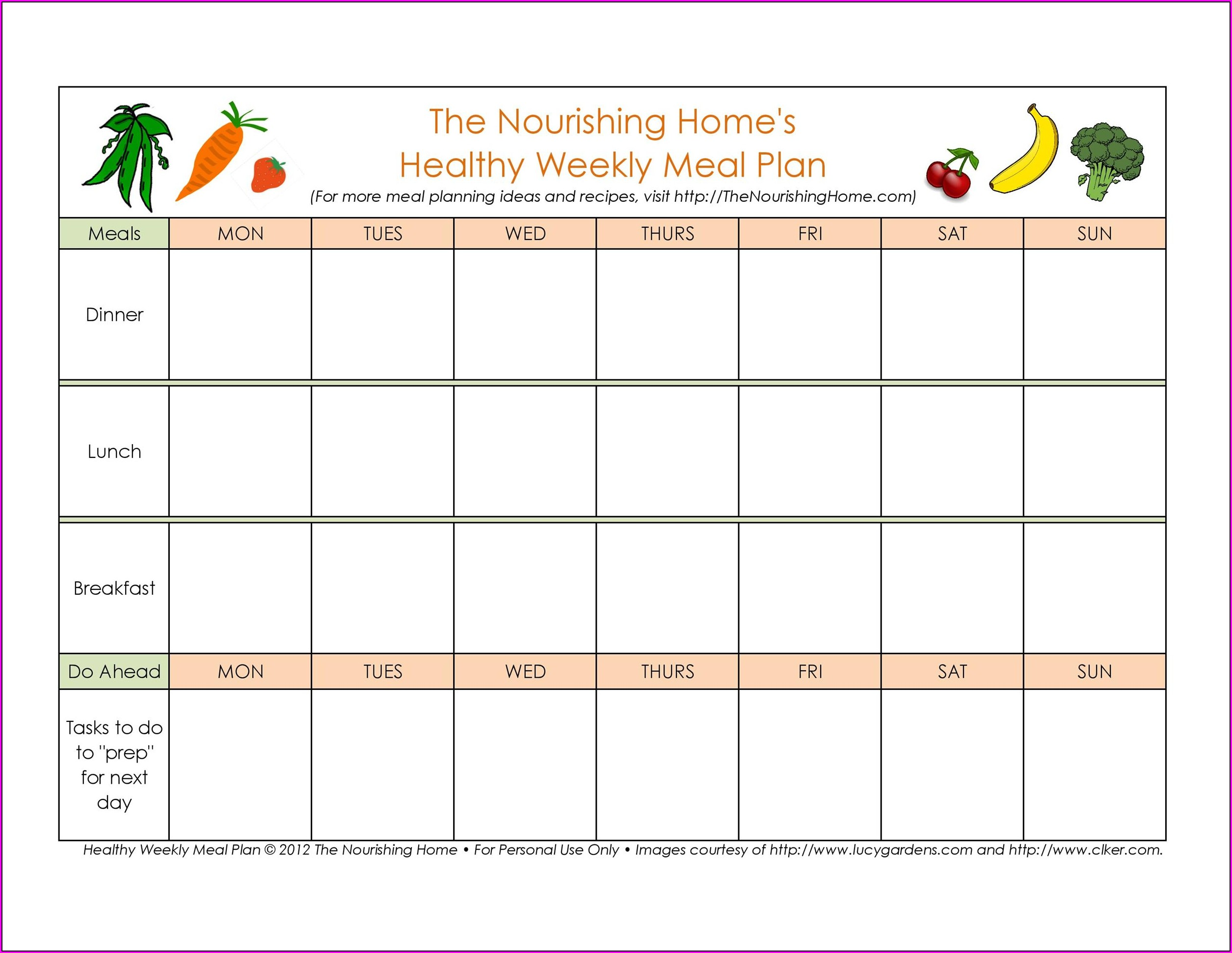 Meal Plan Calendar Template Free