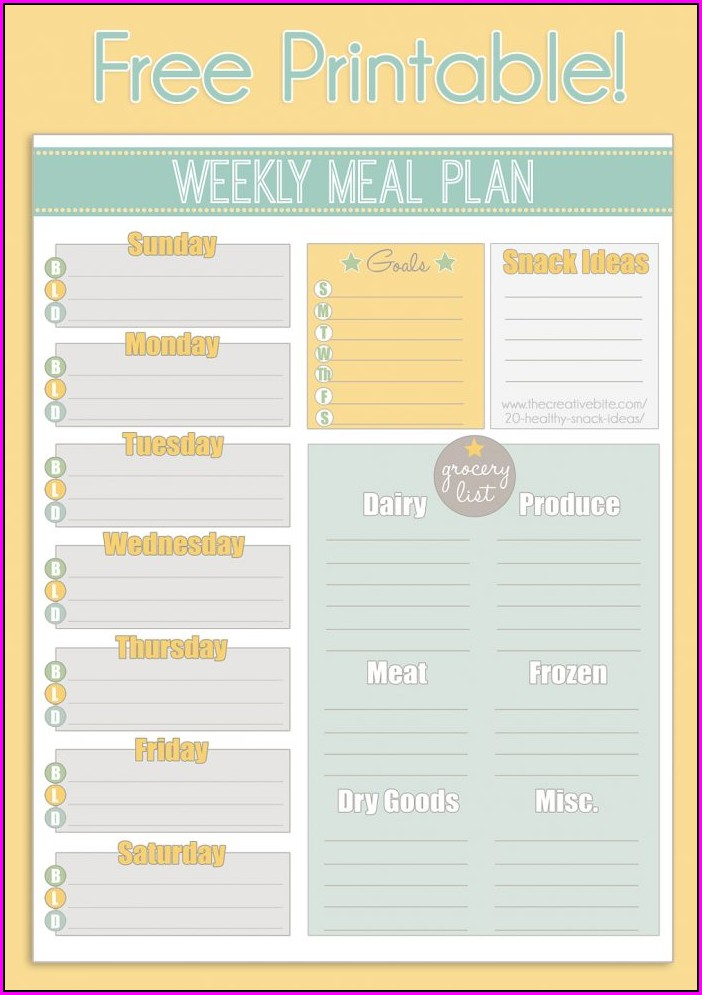 Meal Plan Calendar Template Word
