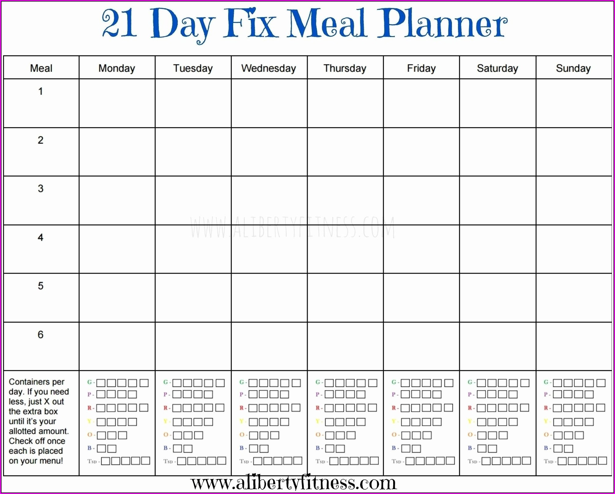 Meal Plan Calendar Template