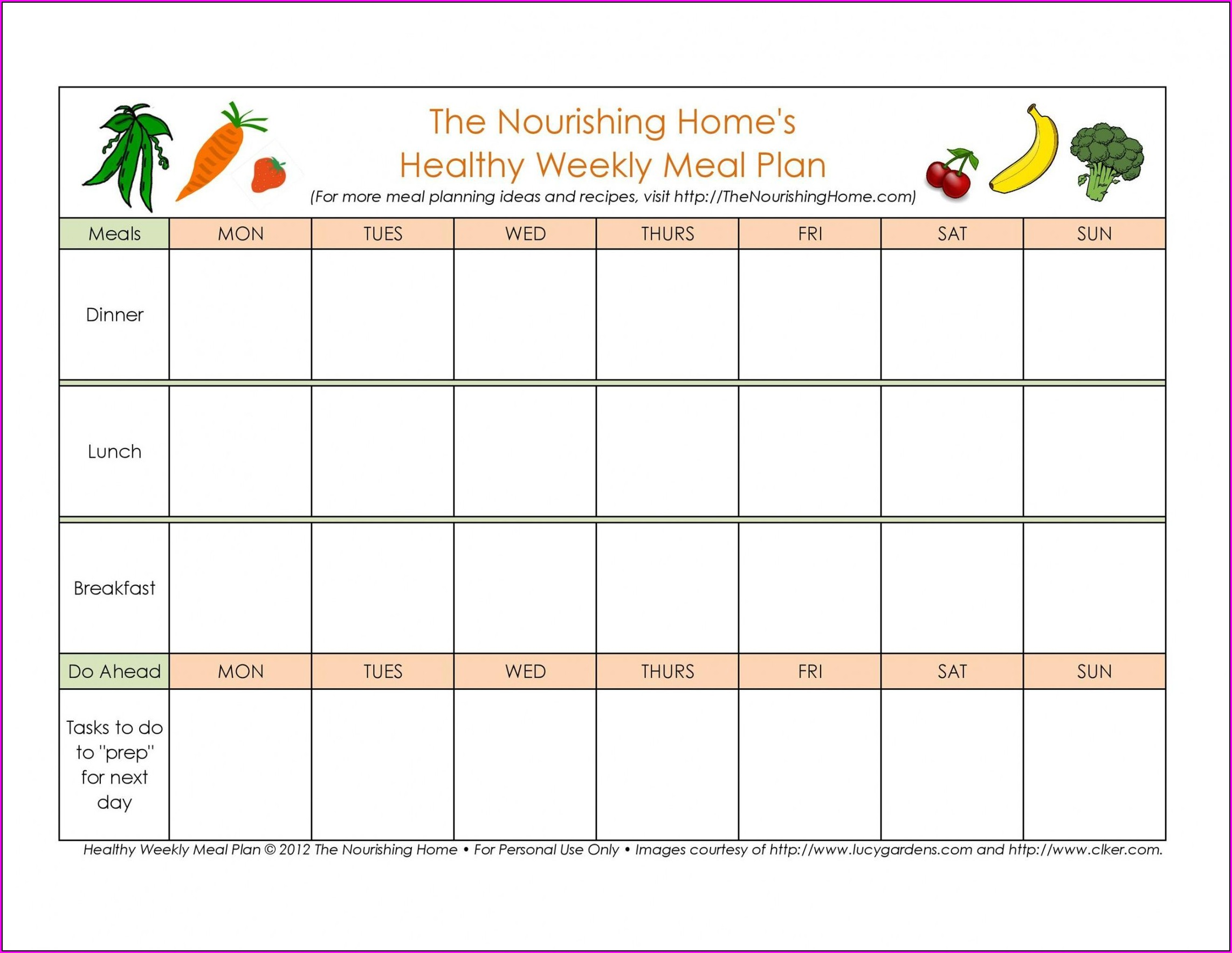 Meal Planning Weekly Food Menu Template