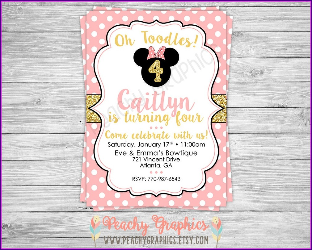 Minnie Mouse Pink And Gold Birthday Invitations