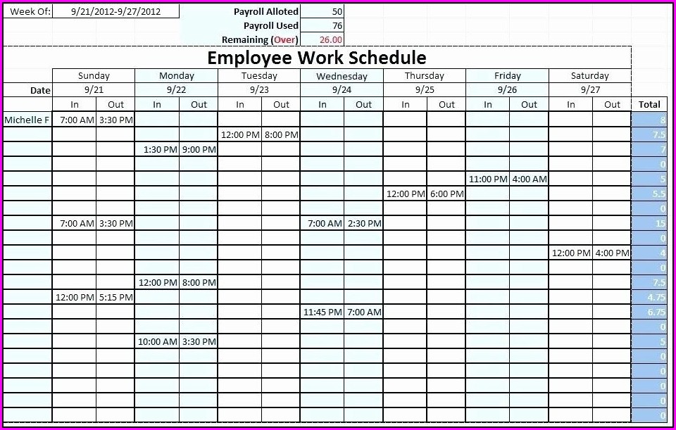 Monthly Employee Work Schedule Template