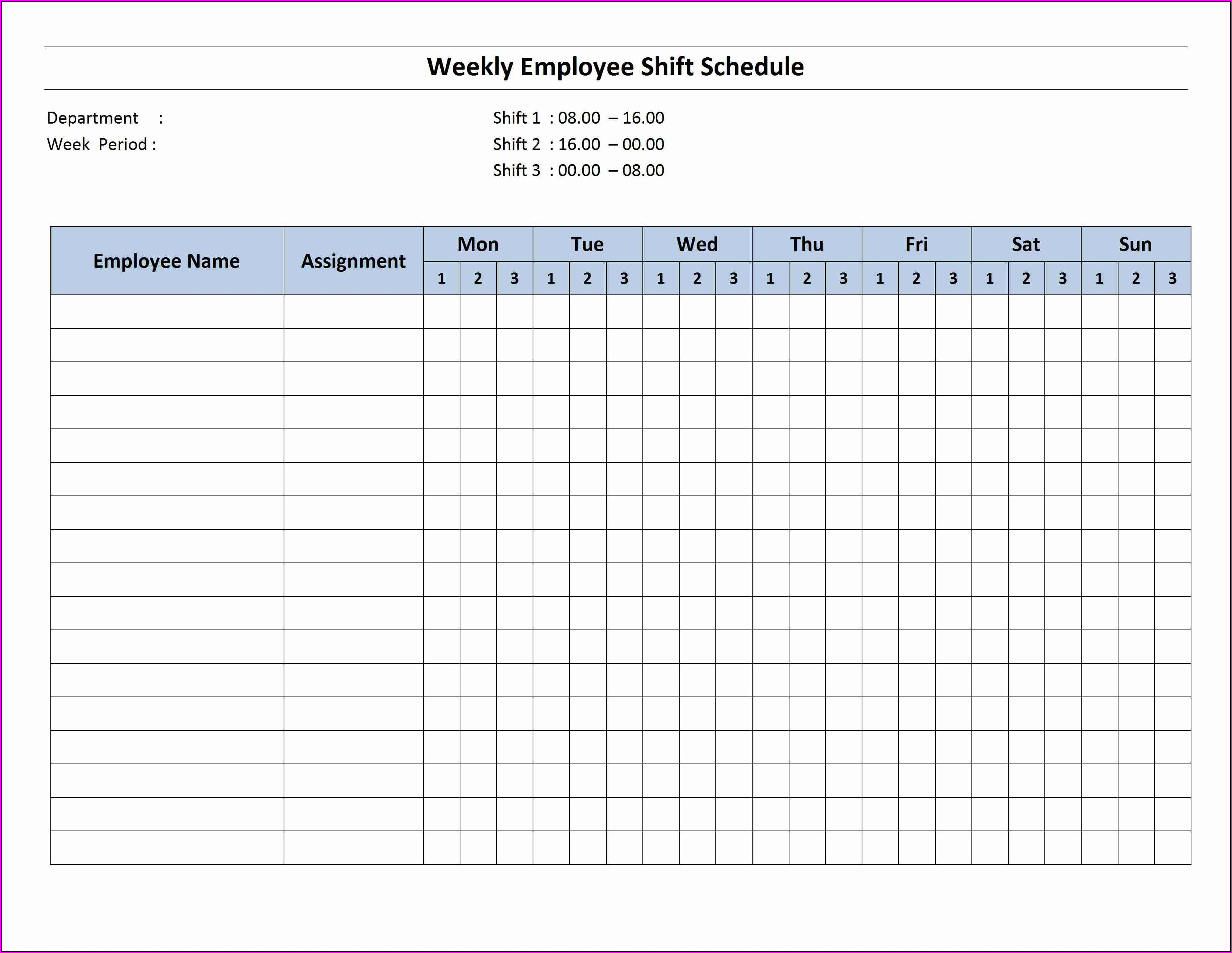 Monthly Work Plan Monthly Employee Schedule Template Excel